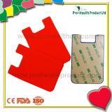 bolso de la tarjeta del teléfono móvil de silicona con la etiqueta engomada (pH09-084)