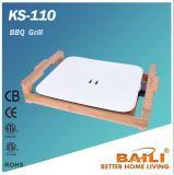 Griddle elétrico com base de bambu, grade do BBQ