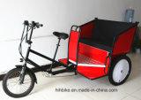 バイクのタクシーを広告する軍事大国の電気自動人力車