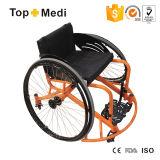 アルミニウム粉のコーティングの任意選択幅のUltralight手動スポーツのトレーニングのバスケットボールの監視車椅子