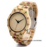 Presente europeu do Natal do relógio de quartzo do relógio da tendência do relógio de pulso de madeira dos homens dos ofícios