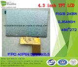 """étalage de TFT LCD de 4.3 """" 480X272 RVB, Ili6480h, 40pin pour la position, sonnette, médicale"""