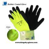 inverno d'avvertimento fluorescente Glove-5230 del lattice della fodera di colore 10g