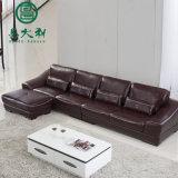 Sofá moderno do couro da sala de visitas secional para a mobília Home
