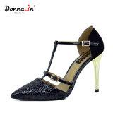 Zapatos de alineada del cuero del remiendo del brillo de las mujeres de las bombas de la señora altos talones