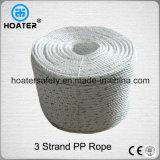 3 Strand Twisted Durable PP / PE Plastic Rope para uso ao ar livre