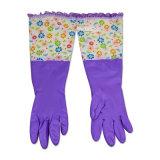 Перчатки водоустойчивой втулки цветка перчатки Dishwashing домочадца длинние теплые резиновый