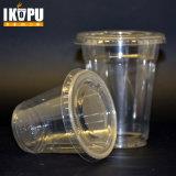 Copos de plástico descartados novos com tampas planas