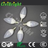 bulbo morno claro do diodo emissor de luz do branco do diodo emissor de luz da luz E27 da vela do diodo emissor de luz 6W
