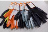 13 gants de revêtement Dnn543 des nitriles 3/4 pourpré en nylon blanc mélangé pourpré de doublure de zèbre de mesure