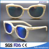 Dos óculos de sol brancos Ivory da forma do frame de Soflying lente azul do revestimento de Wiith