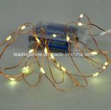 20 diodos emissores de luz aquecem festão branca das luzes feericamente da corda da bateria do diodo emissor de luz a micro