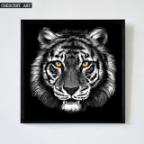 Impresión blanco y negro del arte de la lona del retrato del tigre de la fauna