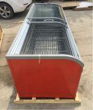 Parte superior comercial combinada fácil que desliza o congelador curvado da caixa da porta
