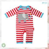 袖なしの赤ん坊は縞の印刷の幼児のロンパースに着せる
