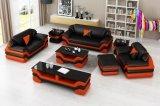Conjunto de sofá de couro em casa moderna