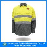 Workwear elevado da visibilidade da camisa reflexiva Khaki e amarela da segurança