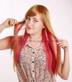 Muti 색깔을%s 가진 오래 똑바로 합성 머리 가발
