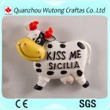 Aimants bon marché de réfrigérateur d'île de l'Espagne de modèle de vache à résine de fabrication professionnelle