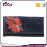 Портмона женщин печати цветка, роскошный мешок деньг неподдельной кожи конструкции