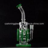 10 Zoll reizvoller Entwurfs-rauchende Wasser-Glasrohr-mit grünen Gewehrkugel-Ölplattformen