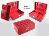 Joyero de Cuero Especial de la PU del Diseño del Diamante Rojo