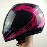 ステッカーが付いている2017年の安全オートバイの太字のヘルメットの電動機のバイクのヘルメット