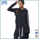 Pull molletonné de noir de chandail d'équipage de couture de Sportwear de femmes
