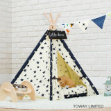 Hölzerner Hundeim freienspiel-Haus-Baumwolldrucken-Haustier-Zelte