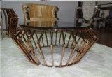 Tabela de vidro do lado da tabela de extremidade da mesa de centro do aço inoxidável do ouro