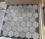 Nueva Hermoso color blanco de madera del hexágono mosaico de mármol
