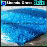多彩な人工的な草30mm赤く黄色く青い紫色カラー
