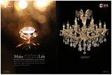 Luz de cristal do candelabro do grampo dourado