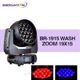 Zoom mobile professionnel de lavage d'étape de la tête 19*15W du matériel d'éclairage DMX