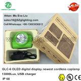 Lampada da miniera del minatore di Kl6lm 13000lux con lo schermo di OLED, caricatore del USB