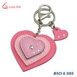 Zwei Ringe überziehen Keychain für Förderung-Geschenk mit Leder
