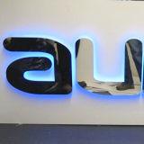 Muestra Polished del acero inoxidable del espejo con el LED azul adentro