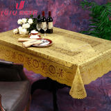 PVC luxuoso elegante Lace Table Cloth em Gold Color, Gold/Silver Printed