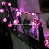 décoration légère de Holloween Valentine de mariage de Noël de la chaîne de caractères 20LEDs de 2m de rupteur d'allumage de billes roses féeriques à piles de rotin