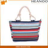 Les sacs à main populaires de corde de dames ont barré le sac de achat de plage d'emballages bon marché