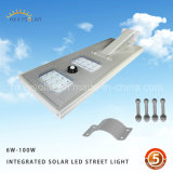 Smart Outdoor LED Light 6W-100W Integrated Solar Street Light com controle remoto