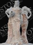 Fuente virginal de la belleza de mármol blanca pura para el jardín Mf-067