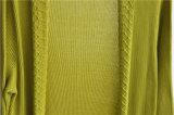 Frauen-lange Hülsen-geöffnete reine Farbeknit-Wolljacke