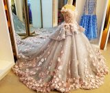 Custom Made Tiered Organza Strapless Flower Ruched Design seu vestido Quinceanera (SR29)