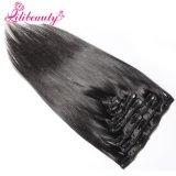 머리 연장 100%년 Virgin 사람의 모발 연장에 있는 페루 머리 상단 급료 8A 클립