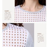 Stylish Perforated Printing Short女性袖の麻のTシャツ