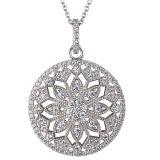 Monili d'argento della collana dei pendenti della CZ 925 rotondi per le ragazze
