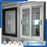 Finestra di alluminio e portello di vetro personalizzati del doppio della stoffa per tendine uniti disegno