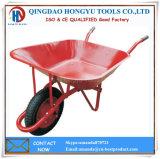Carrinhos de mão de roda pintados vermelhos da bandeja do metal