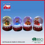 Decorazione di vetro del giardino della casa del globo della neve del commercio all'ingrosso del ricordo della resina mini